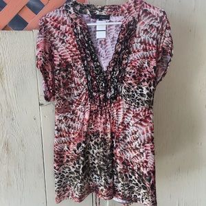 Heart&Soul women's plus shimmer animal print sz2X